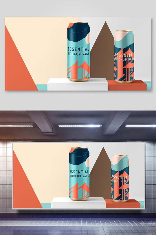 潮流时尚听装饮料包装样机效果图-众图网