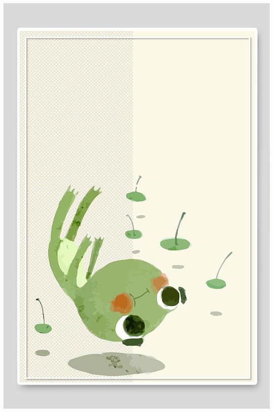 简约荷塘青蛙插画设计-众图网