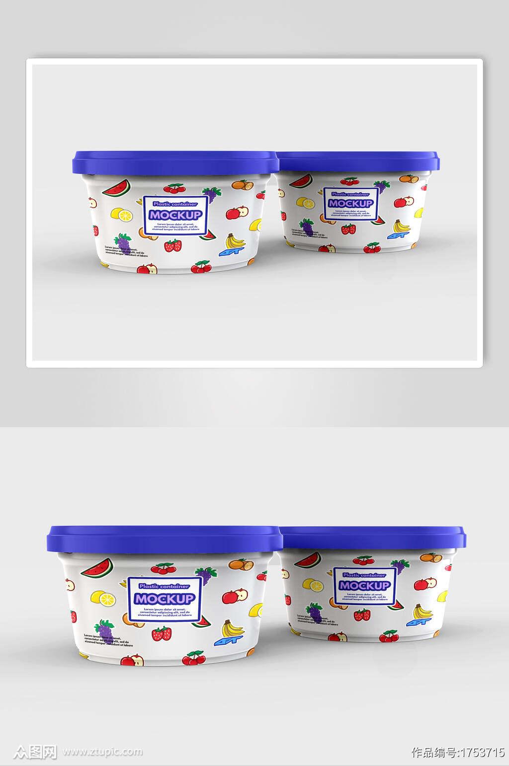 水果风冰淇淋包装样机效果图素材