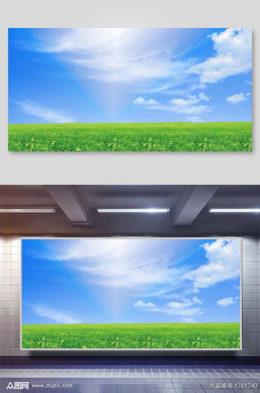 清新蓝天白云草地背景素材素材
