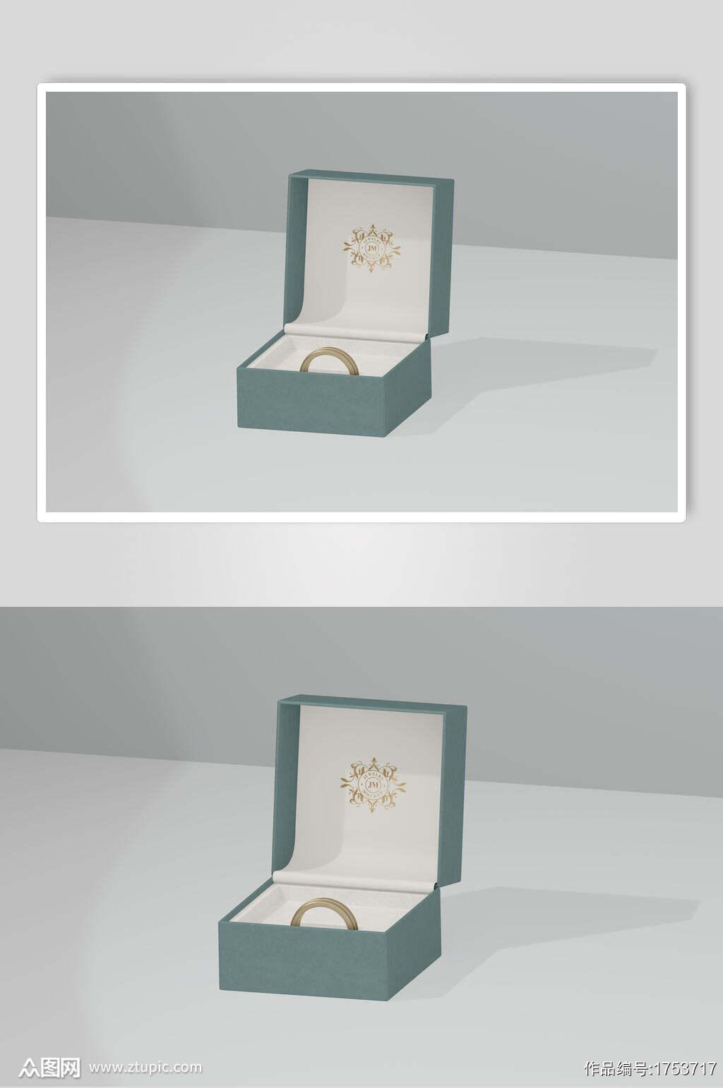 绿色珠宝首饰盒子包装样机效果图素材
