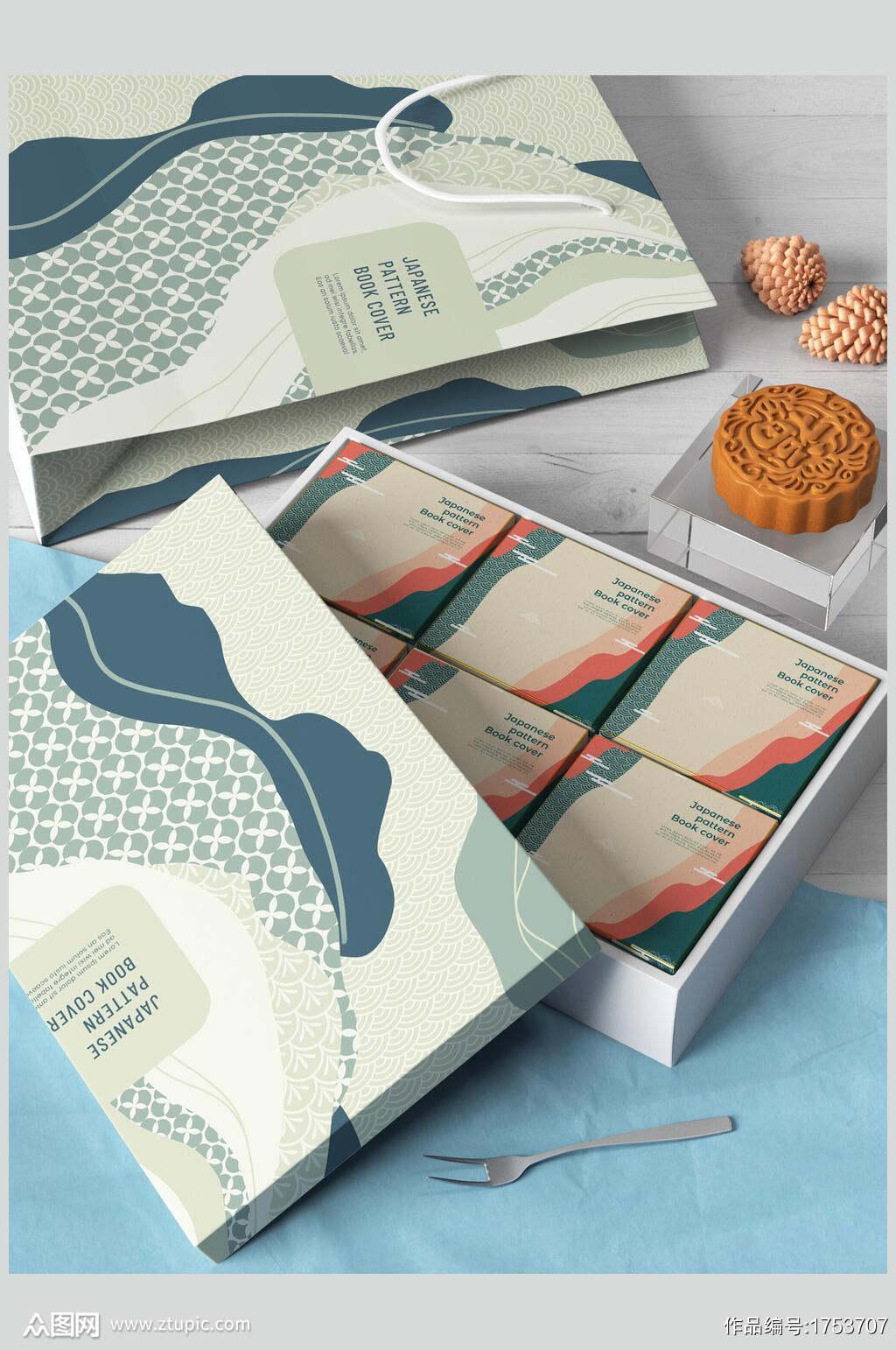 清新文艺月饼精美礼盒包装整套VI样机贴图效果图素材