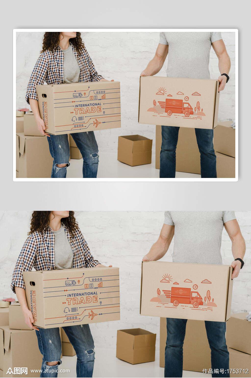 纸盒工具箱盒子包装样机效果图素材