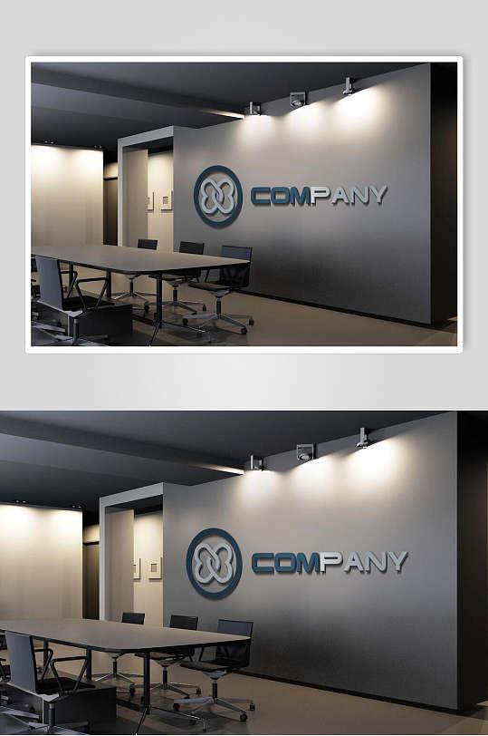 高端灰色形象墙会议室LOGO展示样机效果图