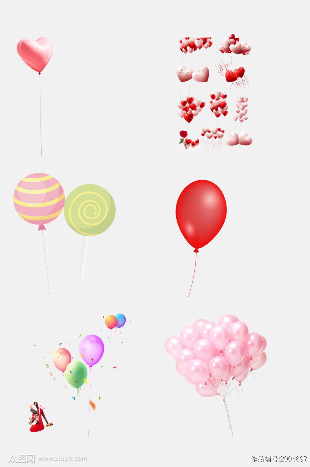 创意红色唯美气球免抠元素素材