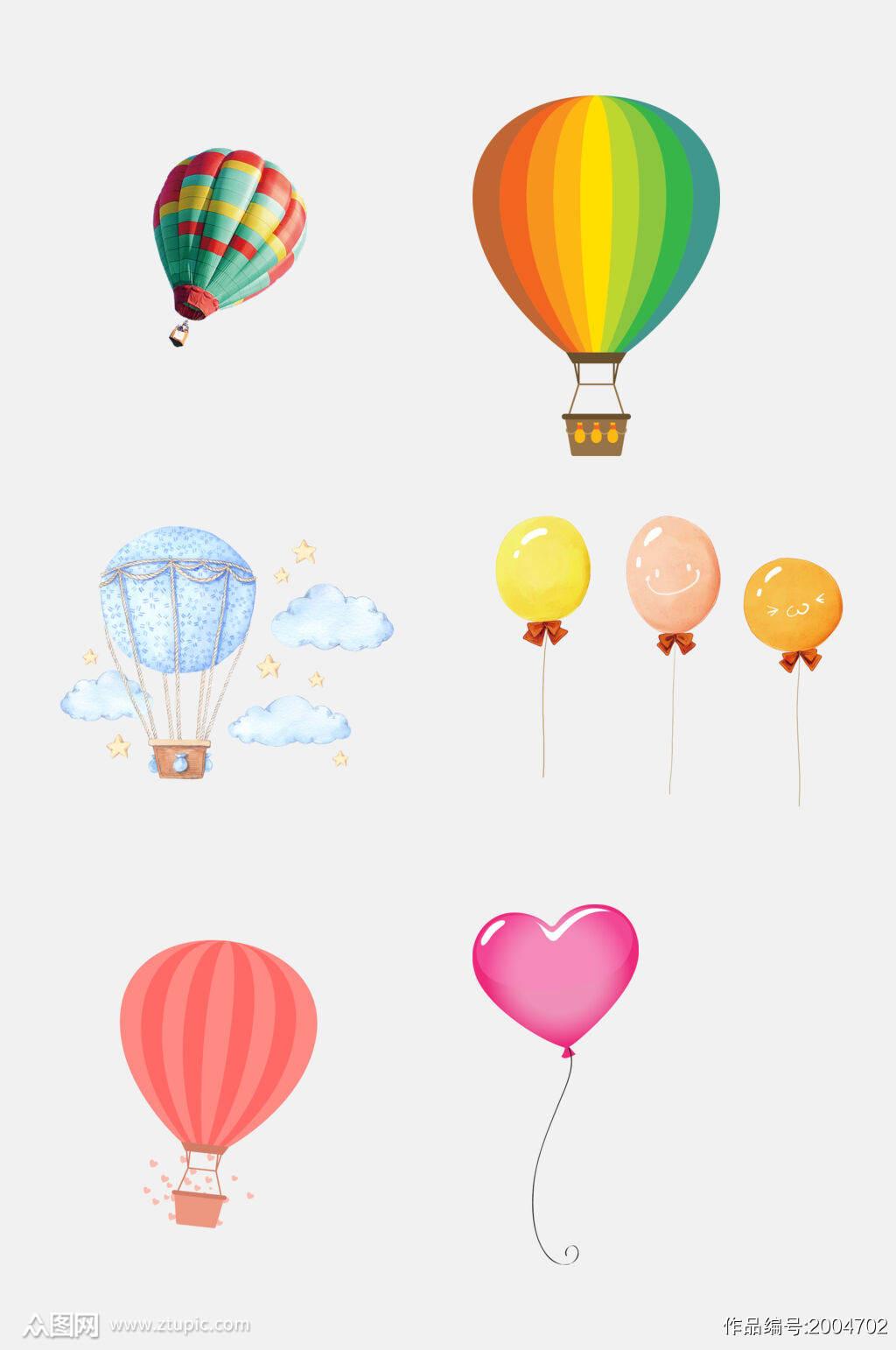 简洁水彩气球免抠元素素材