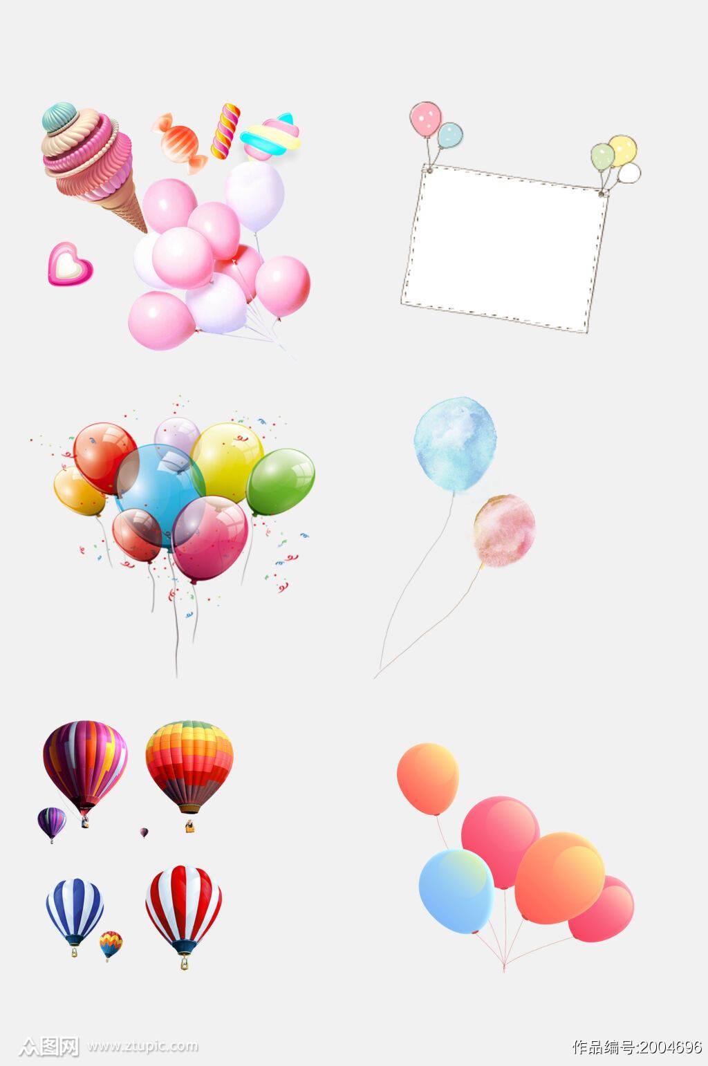 彩色浪漫热气球气球免抠元素素材