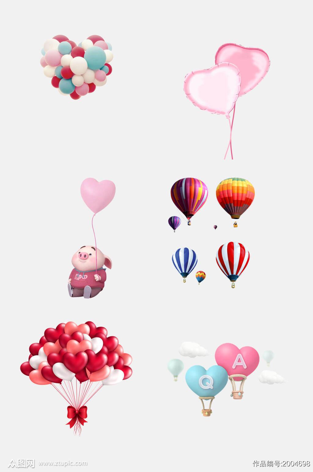卡通动物爱心气球免抠元素素材