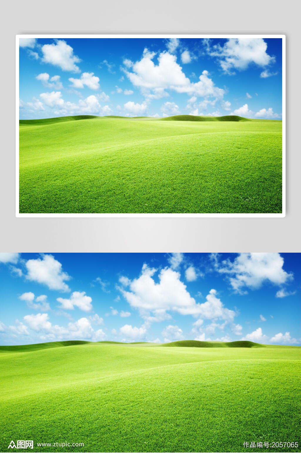 蓝天白云草地天空风景图片素材