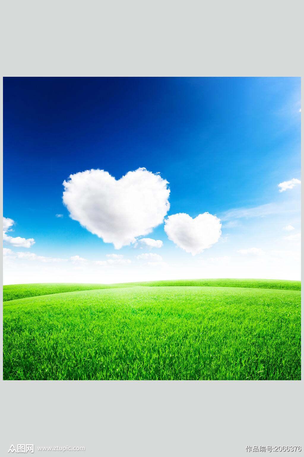 草地天空风景图片白云草地蓝天摄影图素材