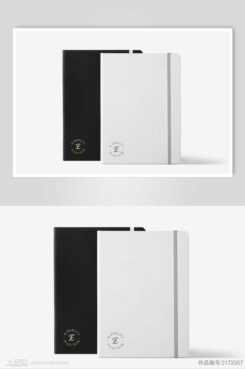低调简约文创黑白笔记本样机素材