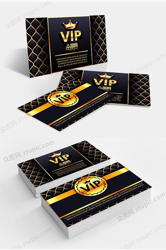 大气金色商务VIP贵宾卡会员卡设计-众图网