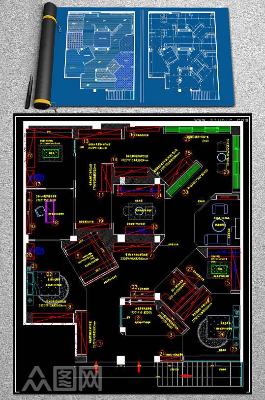 全屋定制酒柜书柜衣柜展厅CAD图库-众图网