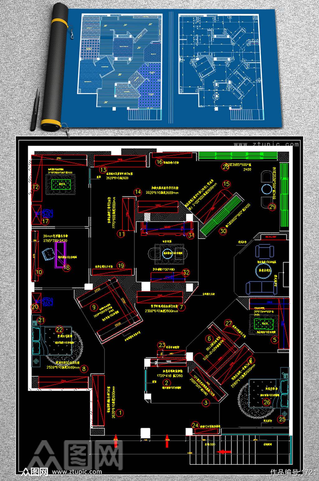 全屋定制酒柜书柜衣柜展厅CAD图库素材