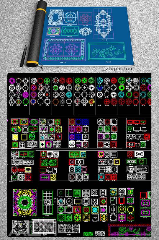 原创家装水刀拼花图案CAD素材图库-众图网