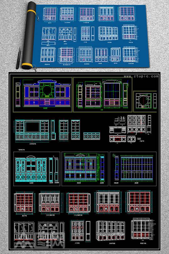 中式古典书柜家具CAD图库-众图网