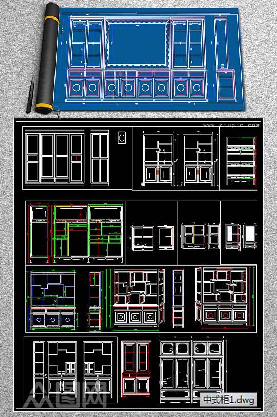 红木实木家具中式衣柜cad素材-众图网
