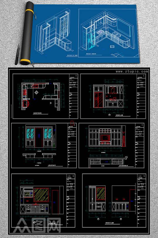 全屋定制衣柜橱柜cad素材-众图网