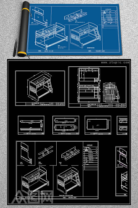 榻榻米儿童房CAD素材-众图网
