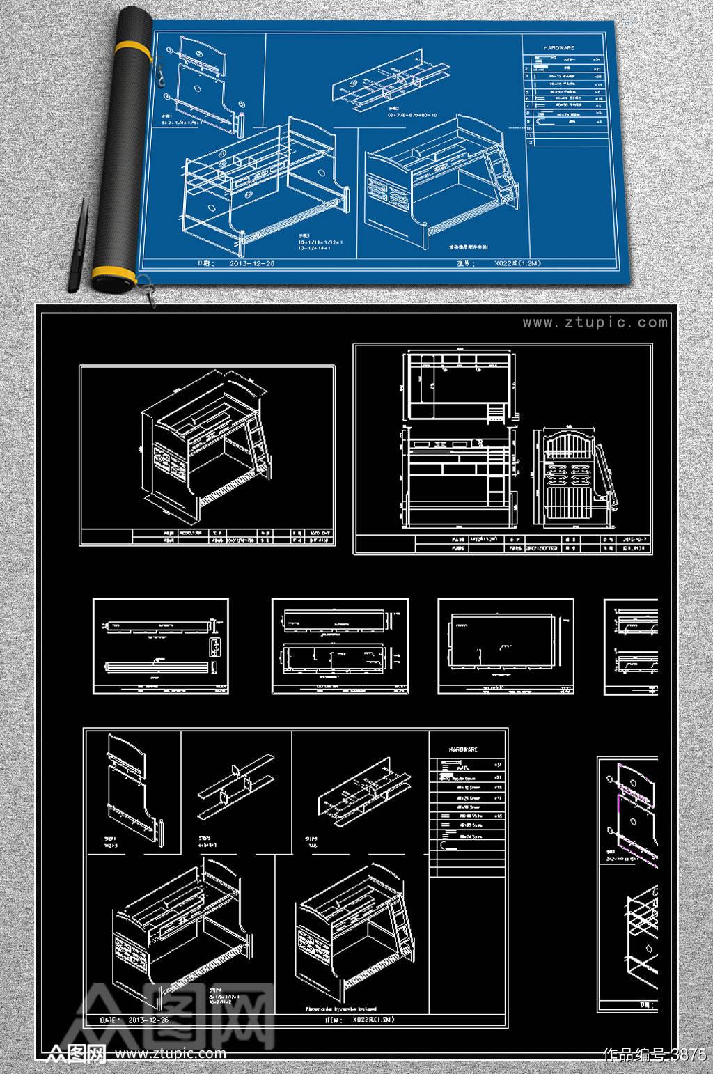 榻榻米儿童房CAD素材素材