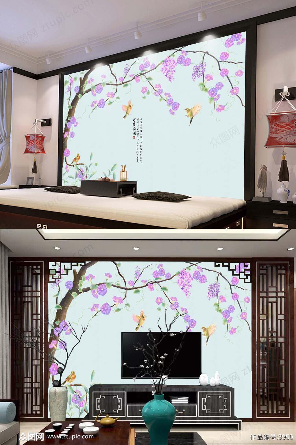 原创新中式牵牛花背景墙手绘水墨喇叭花素材