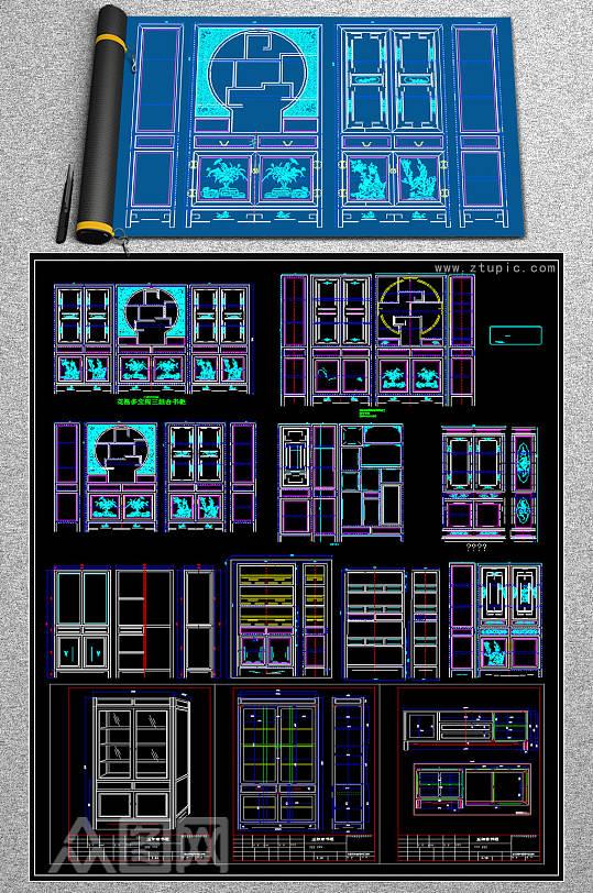 中式古典风格书柜家具CAD图库-众图网