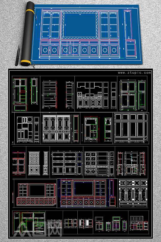 中式衣柜橱柜cad素材-众图网