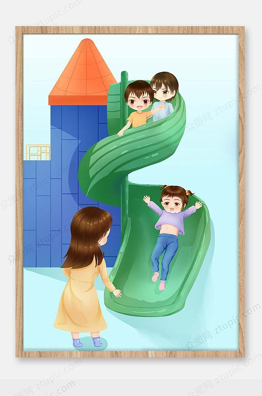 儿童节游乐场插画-众图网