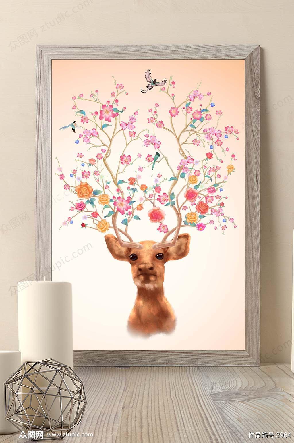 原创手绘花鸟驯鹿发财鹿玄关背景墙壁画素材