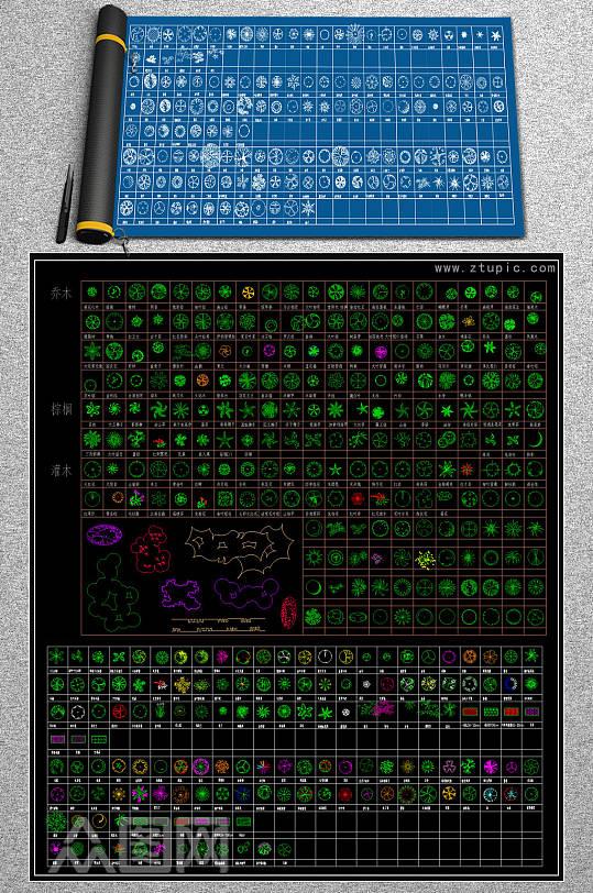 植物景观图例CAD图库-众图网