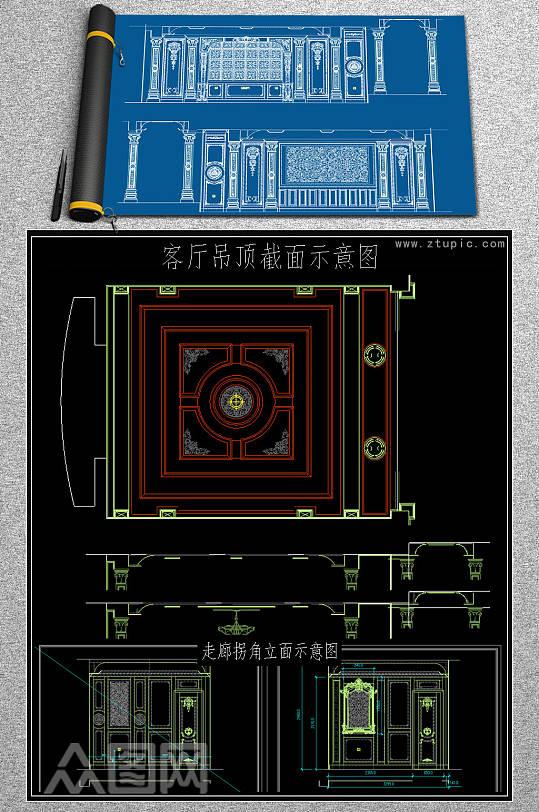 2019电视背景墙CAD图库-众图网
