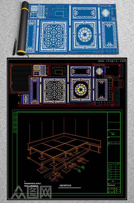 新款水刀拼花CAD素材-众图网