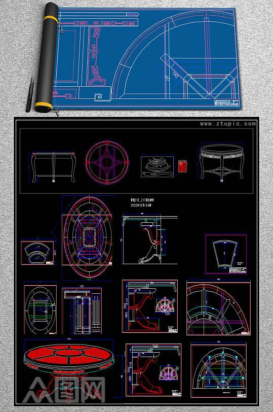 圆台中式古典明清家具CAD素材-众图网