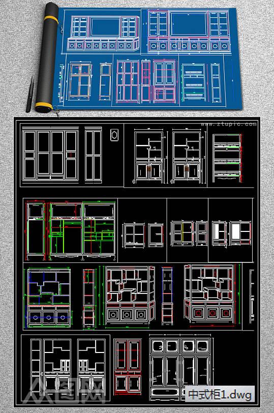 中式柜cad素材-众图网
