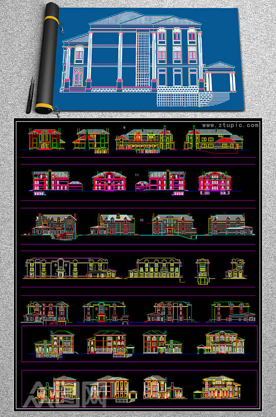 别墅外立面CAD素材-众图网