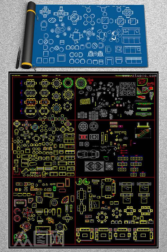 中式CAD图块素材-众图网