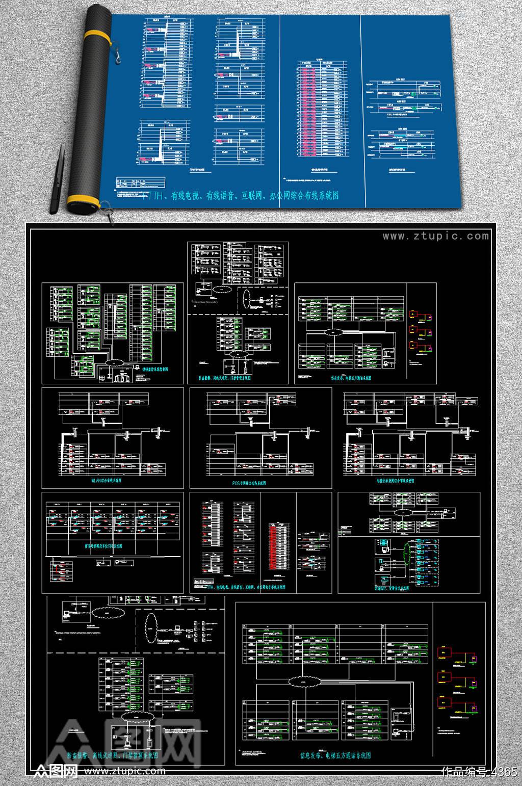 购物广场弱电CAD系统图素材