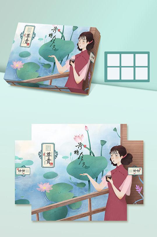 小清新原创手绘风格中秋月饼盒设计-众图网