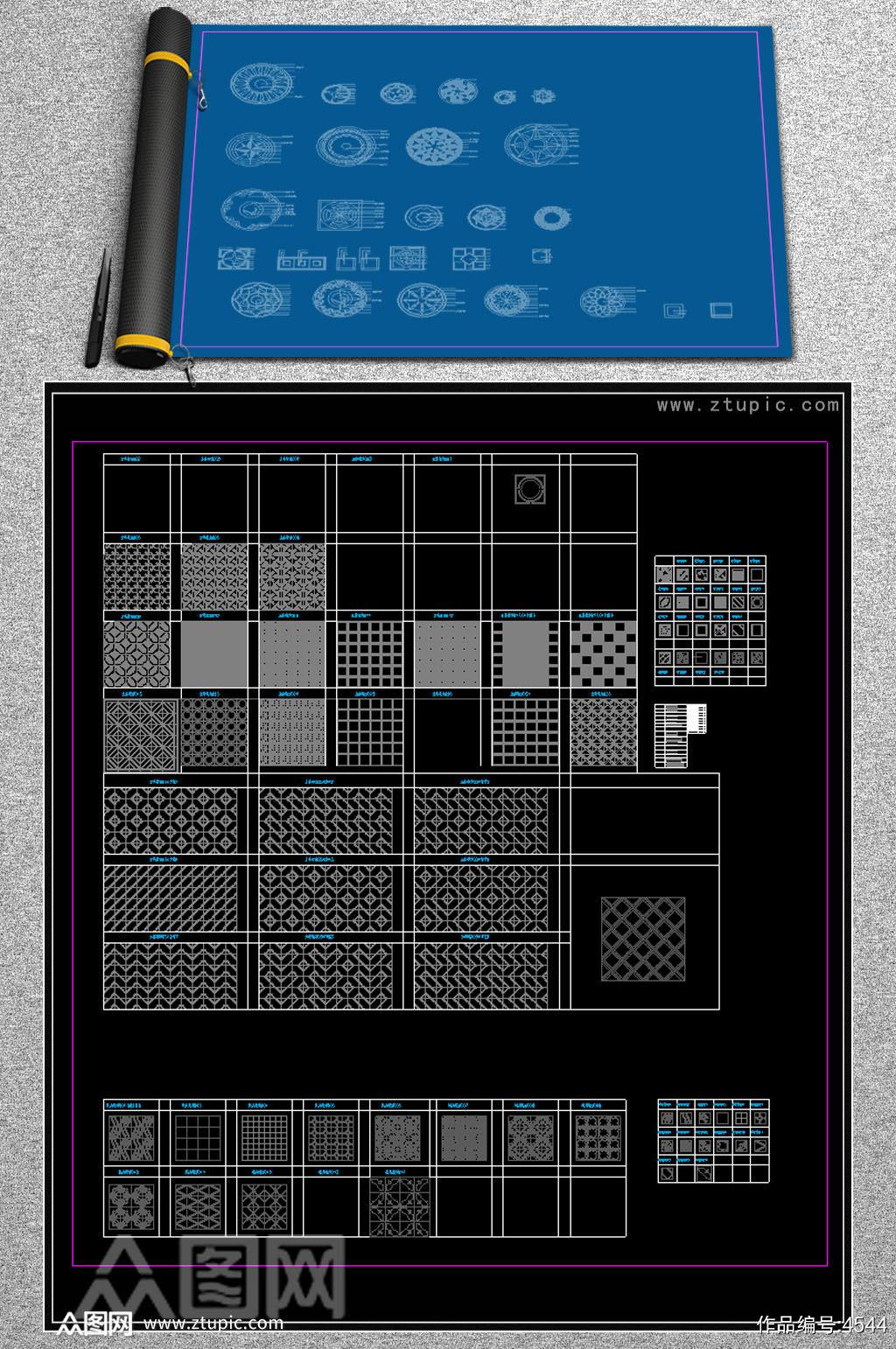 原创2016年CAD款大理石地面拼花CAD地面拼花家装工装下载素材