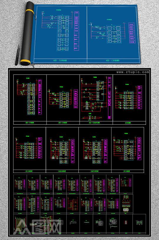 原创开关控制图块CAD图纸-众图网