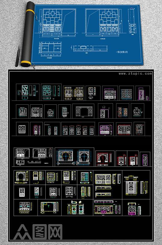 原创中式博古架博古柜装饰柜CAD图库-众图网