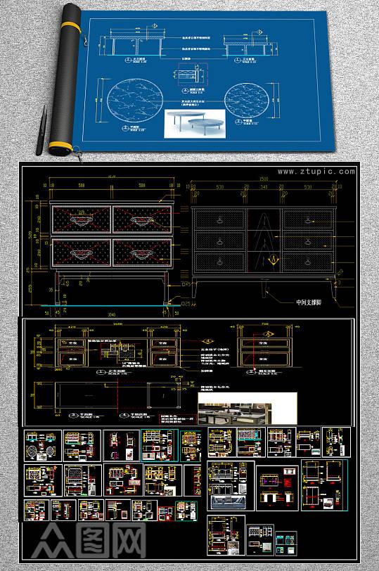 原创的办公家具CAD-众图网