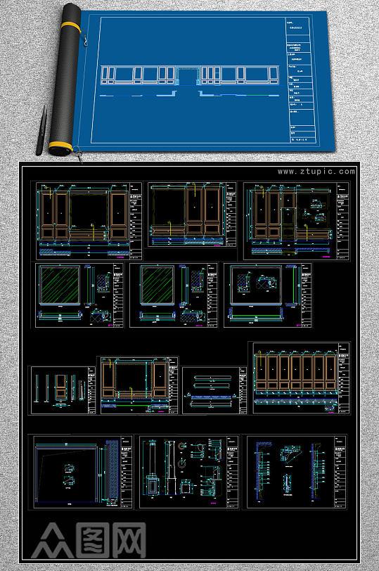 原创品牌楼梯几个专卖店展厅深化CAD图-众图网
