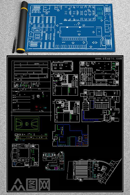 原创现代风格健身会所CAD施工图-众图网
