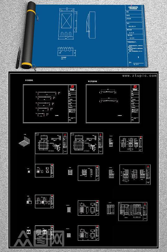 原创欧式全屋柜子CAD施工图效果图-众图网