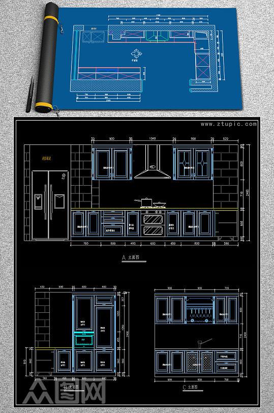 原创L型欧式橱柜CAD图纸-众图网
