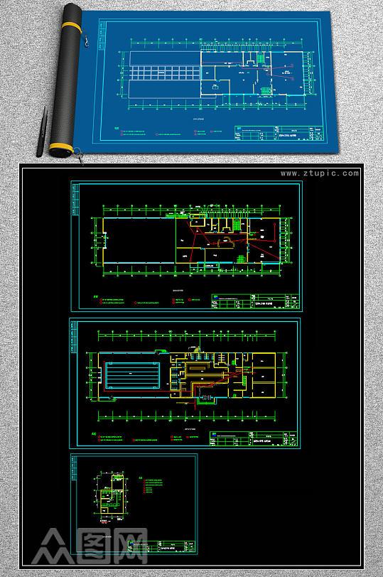 原创健身房电气电视监控CAD施工图-众图网