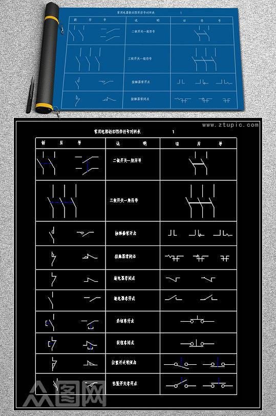 常用电器元件新旧符号对照表-众图网