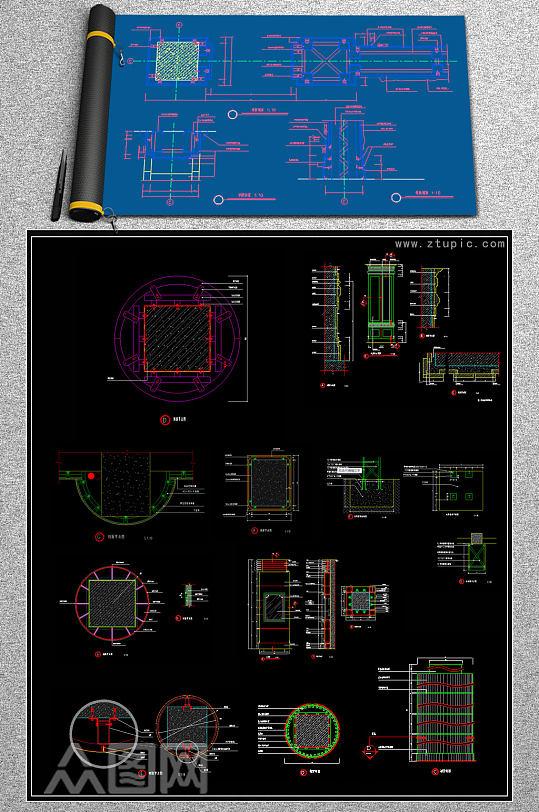 原创CAD包柱做法柱子装修节点剖面图施工图纸-众图网
