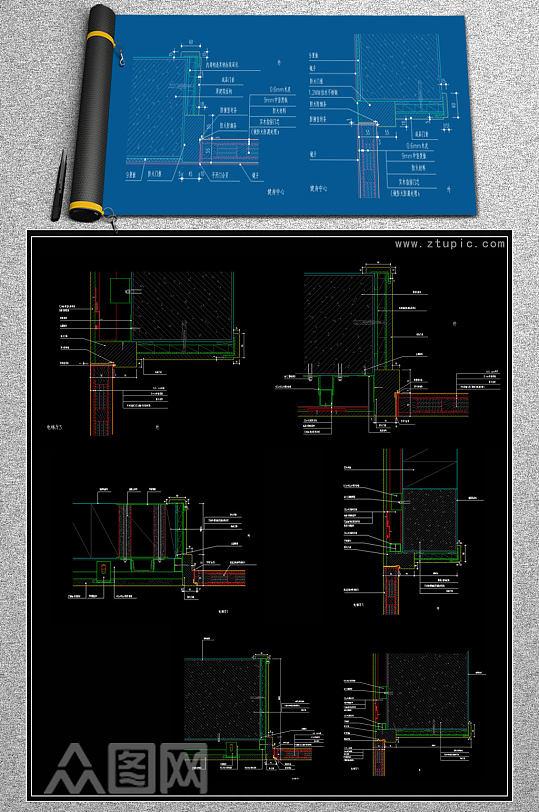 原创CAD防火门套服务台节点大样图风口吊顶图-众图网